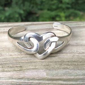 Vintage Solid Sterling Silver Heart Bracelet